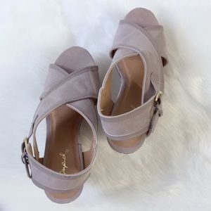 Shoes - Taupe CrissCross Wedges